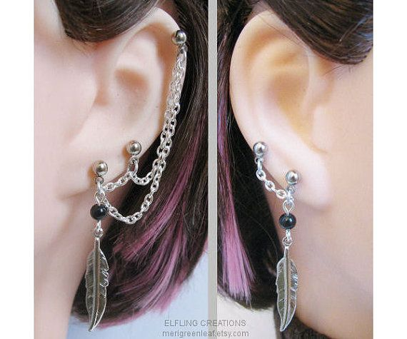 This Is A Pair Of Silver And Black Feather Connecting Chain Earrings With Lots Pierced Posts For Multiple Ear Piercings