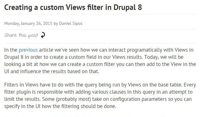 Creating a custom Views filter in Drupal 8 | Drupal