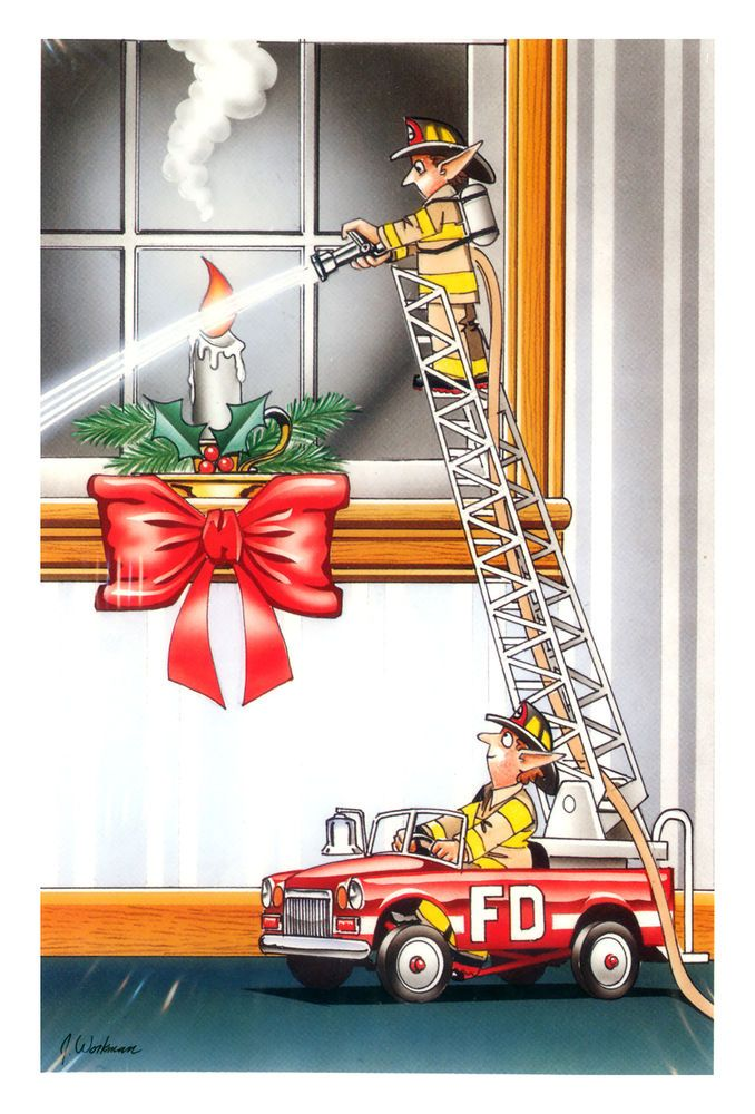 Fireman / Firefighter Christmas Cards - X-770 - One (1) Pack of 10 ...