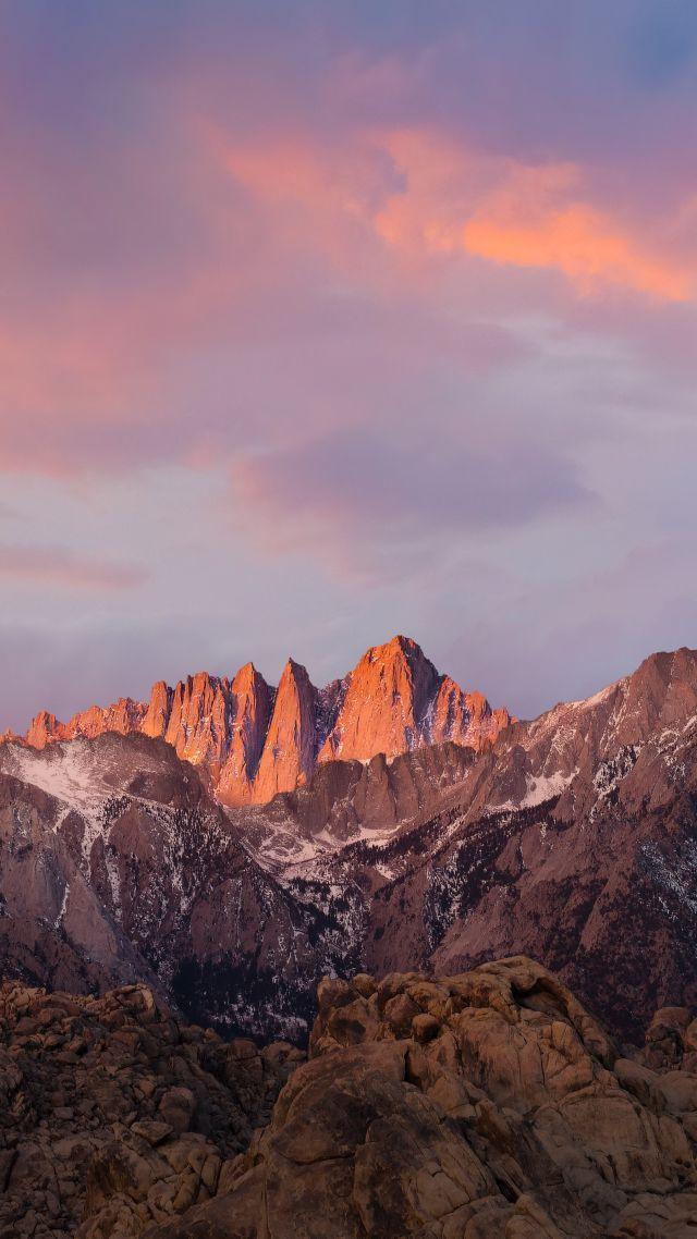 горы, небо, 4k, 5k, закат, iPhone обои, андроид обои