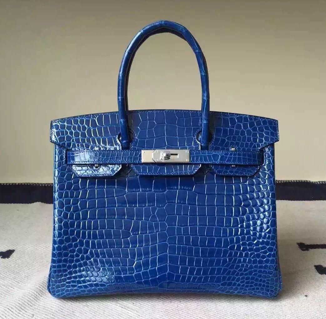 Hermes Birkin 30 35 Imported Crocodile Leather Bag Blue (SHW ... a1708e4386078
