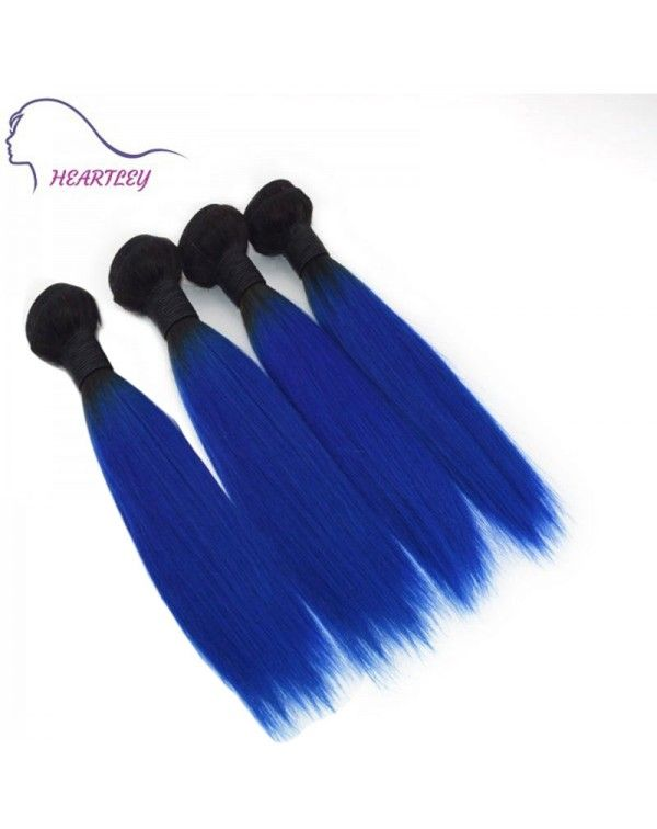 $66.61 16 INCH BRAZILIAN HUMAN HAIR OMBRE BLACK BLUE STRAIGHT REMY HAIR EXTENSIONS #humanhairextensions