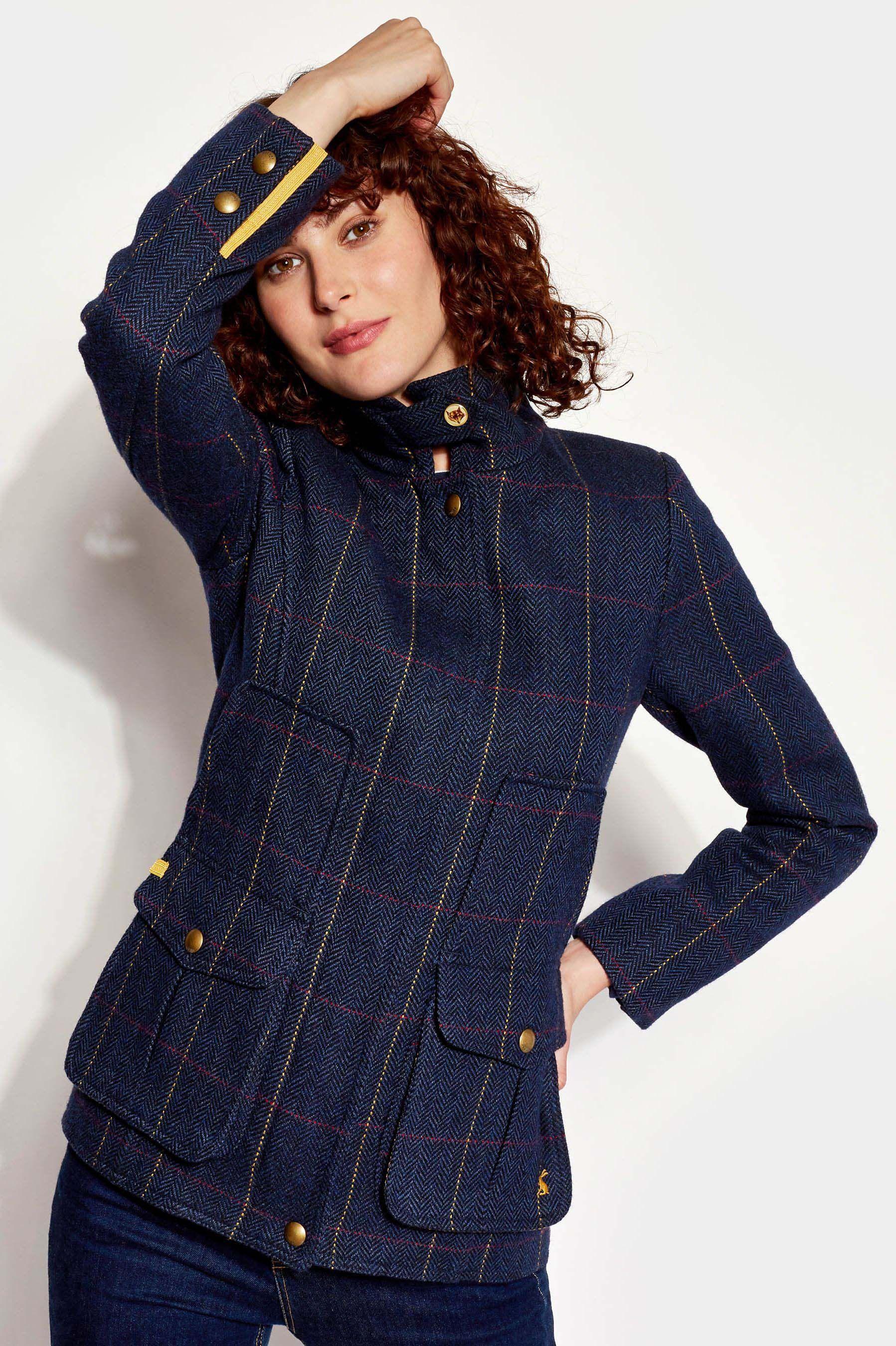 Women Joules Fieldcoat Tweed Coat Navy