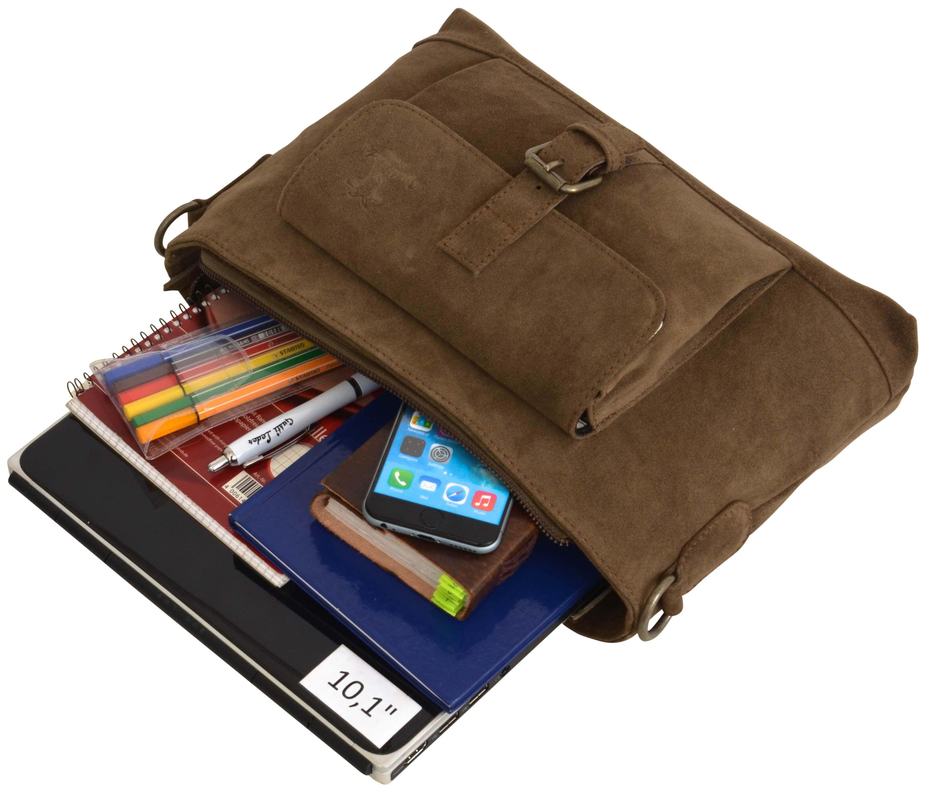 """Als praktische Tasche für das Büro oder für die Freizeit überzeugt """"Hannah"""". Die braune Tasche ist nicht nur durch ihre Farbgestaltung ein absoluter Blickfang, sondern auch, weil sie einfach toll ist - Ledertasche - Handtasche - Umhängetasche - Gusti Leder - 2H37-26-1"""