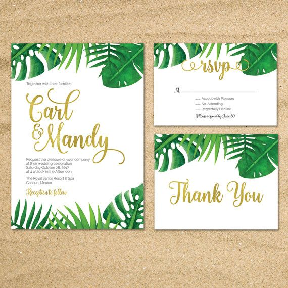 Tropical Wedding Invitation Palm Leaves Invite Beach Destination Green Gold Printable 005