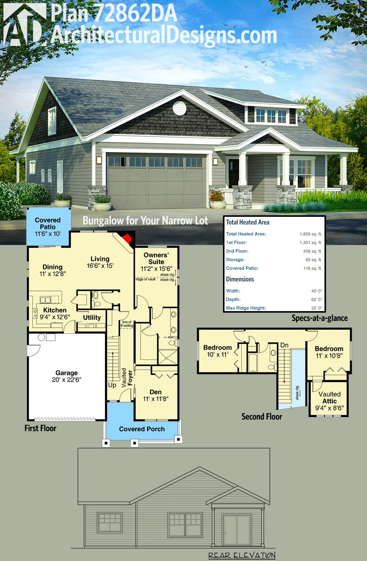Architectural Designs Bungalow House Plan 72862DA has a shed dormer over the front porch giving light to the vaulted attic which could be put to creative uses. The home gives you 3 beds and over 1,800 square feet of heated living space. Ready when you are. Where do YOU want to build?