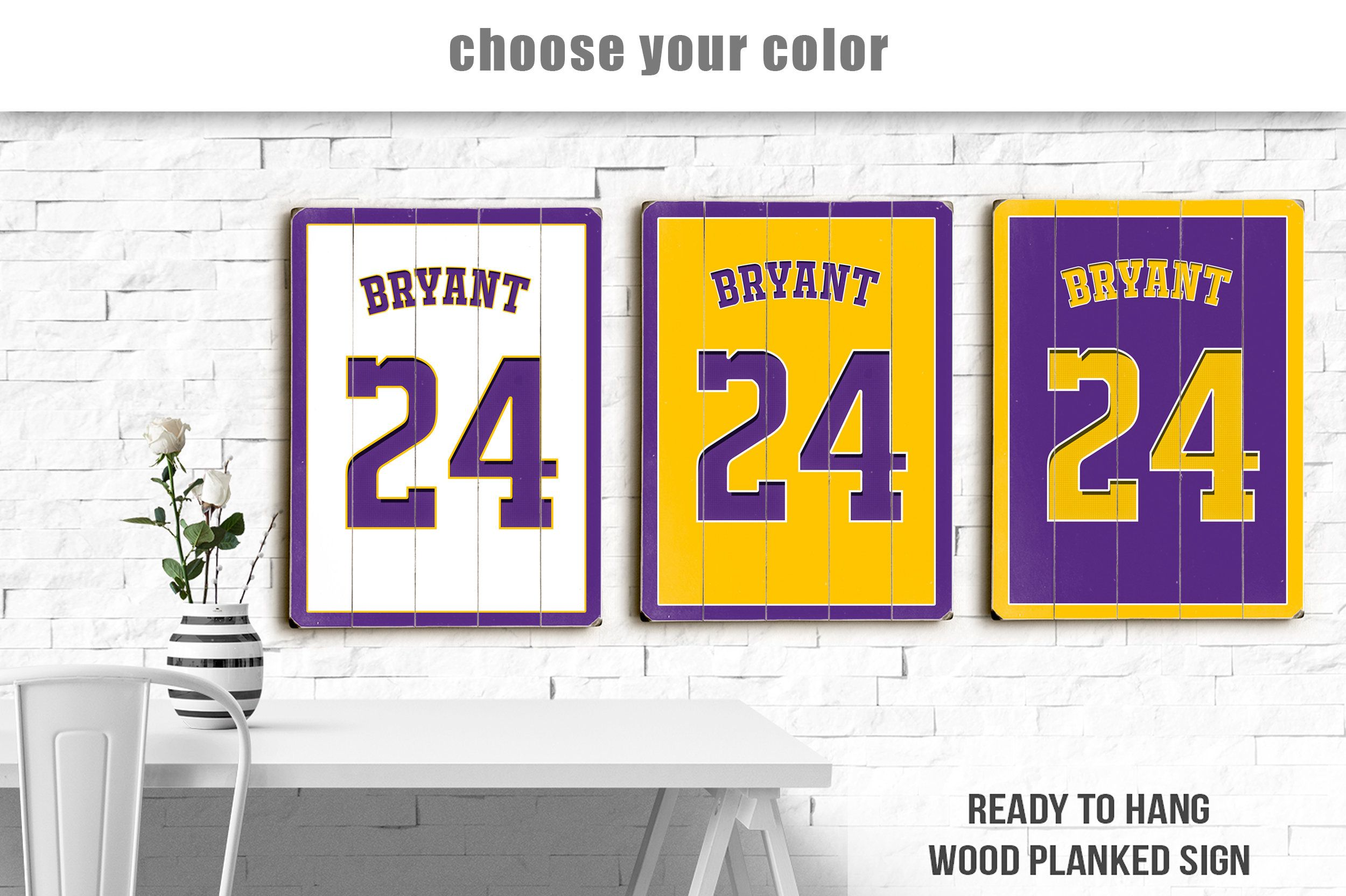 Wood Sign Kobe Bryant 24 Jersey Los Angeles Lakers