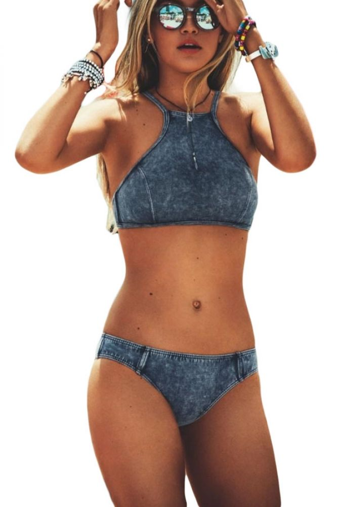 eff8a6e694552 Denim Blue High Neck Bathing Suit US  5.73