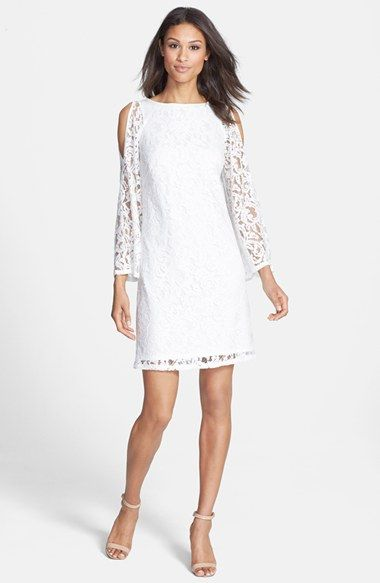 7ce4f91e63 Free shipping and returns on Adrianna Papell Cold Shoulder Lace Shift Dress  at Nordstrom.com. The sheer bell sleeves of this pretty