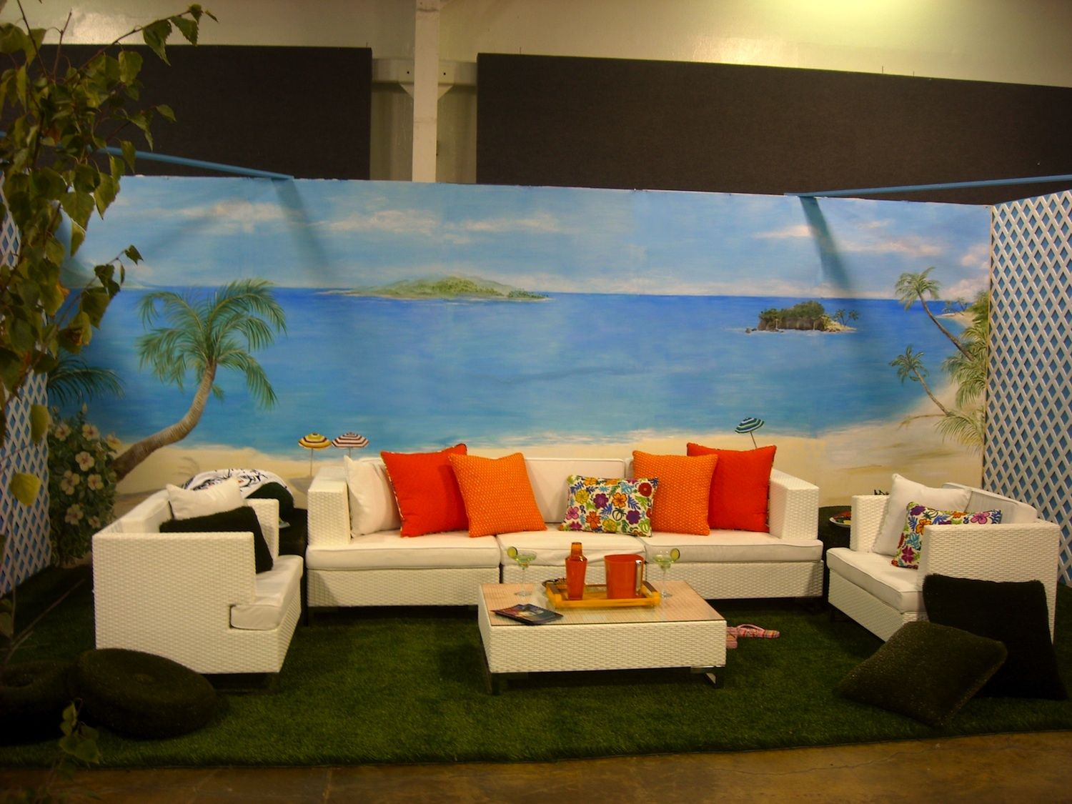 Hand painted beach mural on stick and peel wall fabric wall art hand painted beach mural on stick and peel wall fabric amipublicfo Gallery