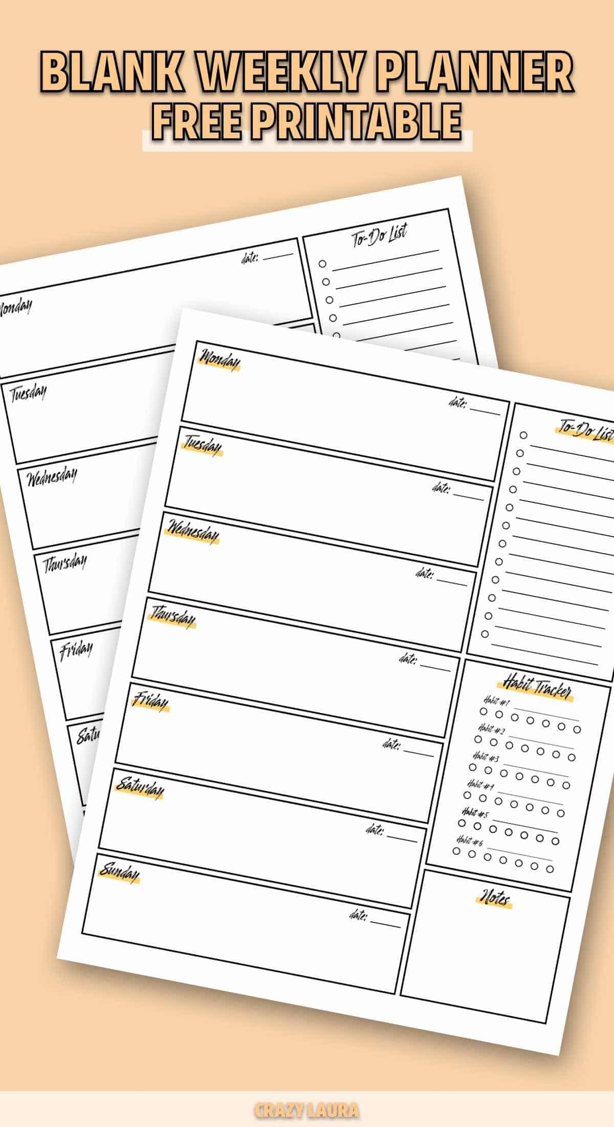 Free Weekly Planner Printable With Different Colors