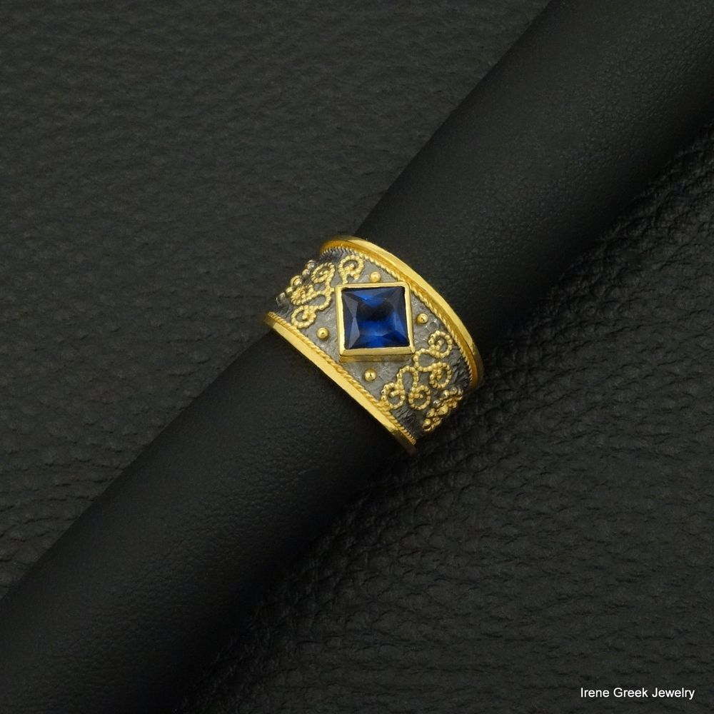 SAPPHIRE CZ BYZANTINE 925 STERLING SILVER 22K GOLD& BLACK RHODIUM PLATED RING #IreneGreekJewelry #Band