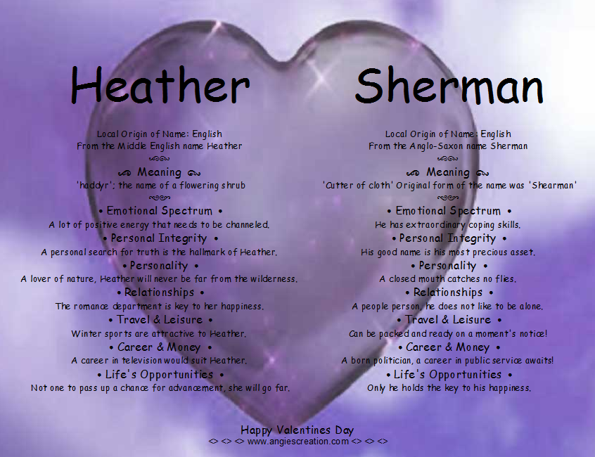 Heather And Sherman Dual Name Meaning | Angies Creation