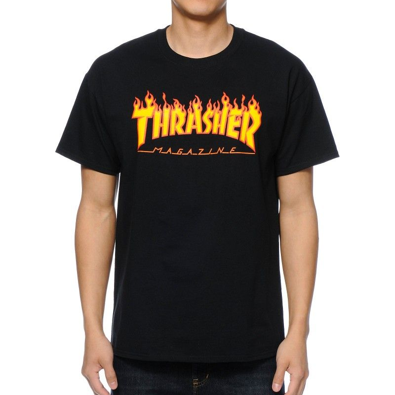 Thrasher Flame Logo T Shirt Black