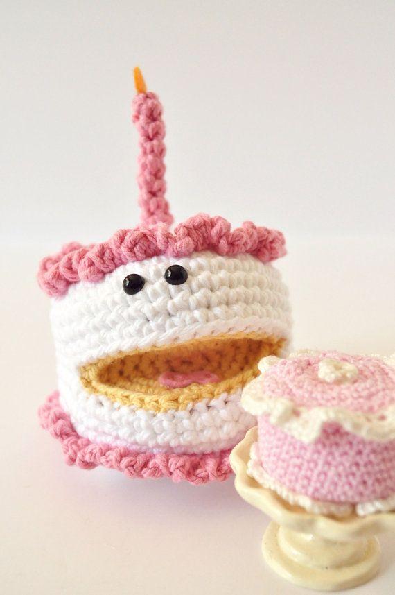 Happy Birthday Knitting Pattern : Happy birthday cake crochet pdf pattern by thepudgyrabbit