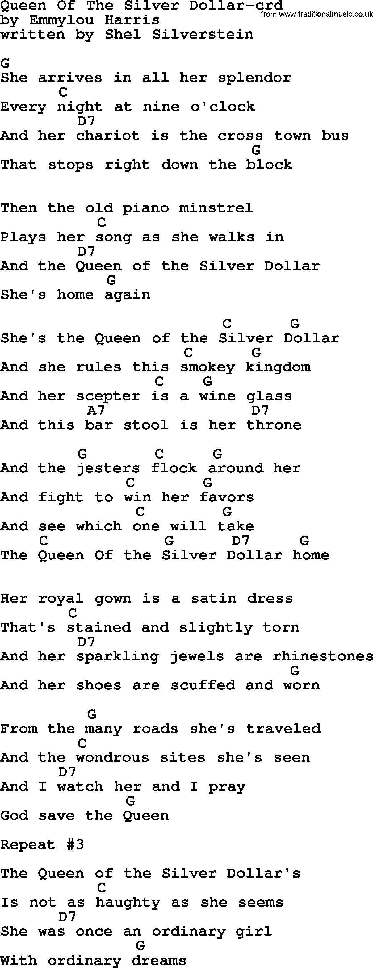 Marty robbins song theyre hanging me tonight lyrics and chords emmylou harris song queen of the silver dollar lyrics and chords hexwebz Choice Image