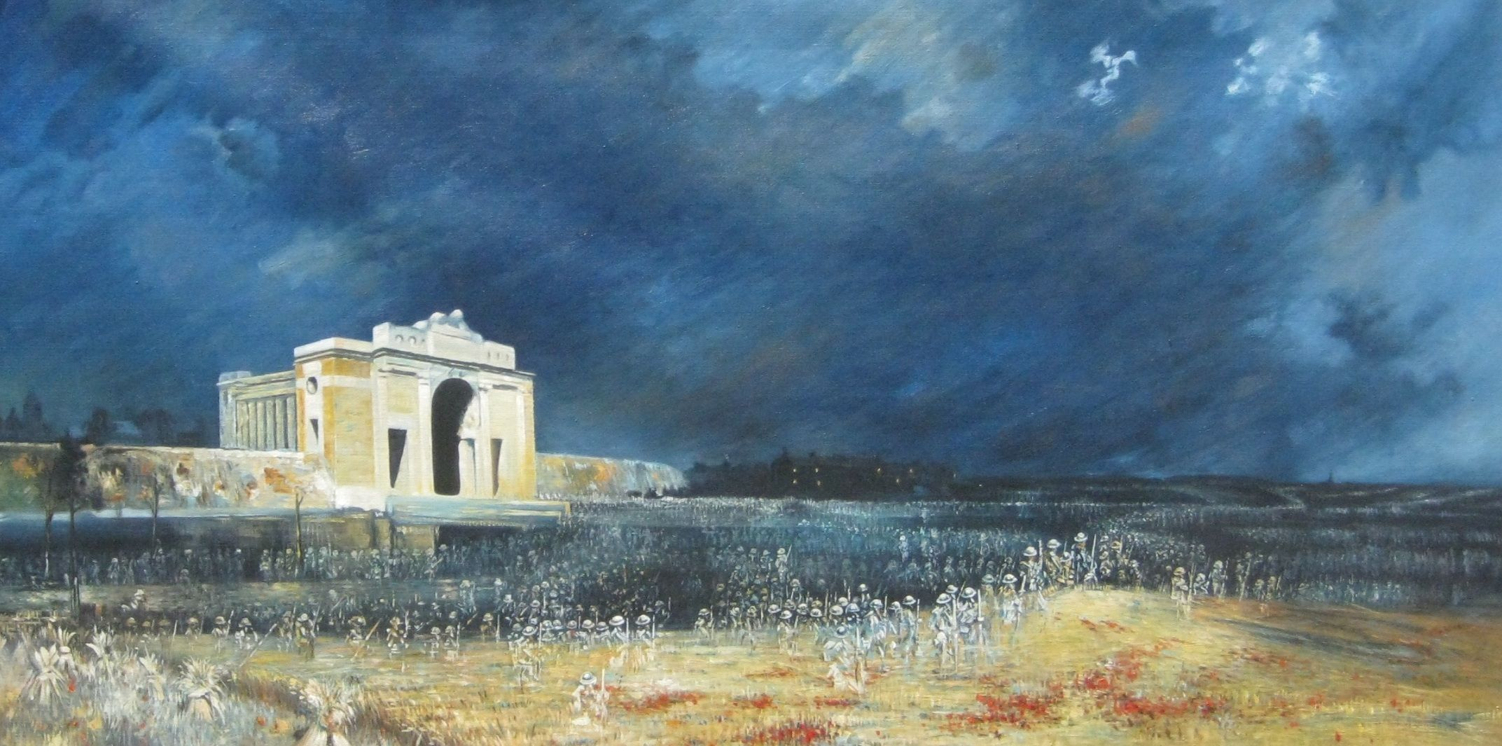 """Will Longstaff has skilfully portrayed 'The Ghosts of Menin Gate'; but, to those who have eyes to see, every Australian highway is haunted by the gallant ghosts of the pioneers. In the centre of each crowded street there stands an invisible altar on which has been offered a hecatomb of noble victims, a holocaust of sacrificial blood. The Anzac story is the crowning incident in that affecting pageant."" - F W Boreham"
