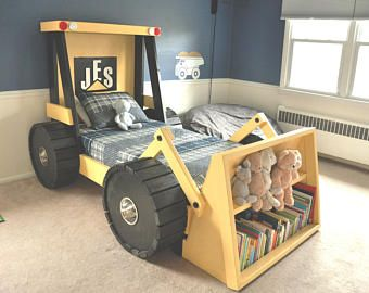 Construction Truck Bed Plans In Digital Format For A Diy Themed Room Kid Bedroom Decor
