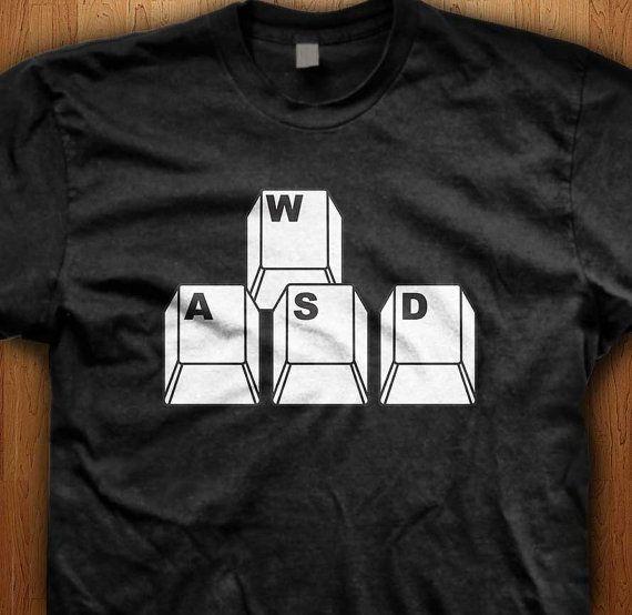 7bce11b9 WASD Shirt PC Computer Tee Keyboard Clothing PC Master Race Geek T-Shirt  Video game Gift for him League Of Legends Wow Present