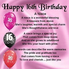 Sweet 16 Quotes For Niece Personalised Happy 16th Birthday