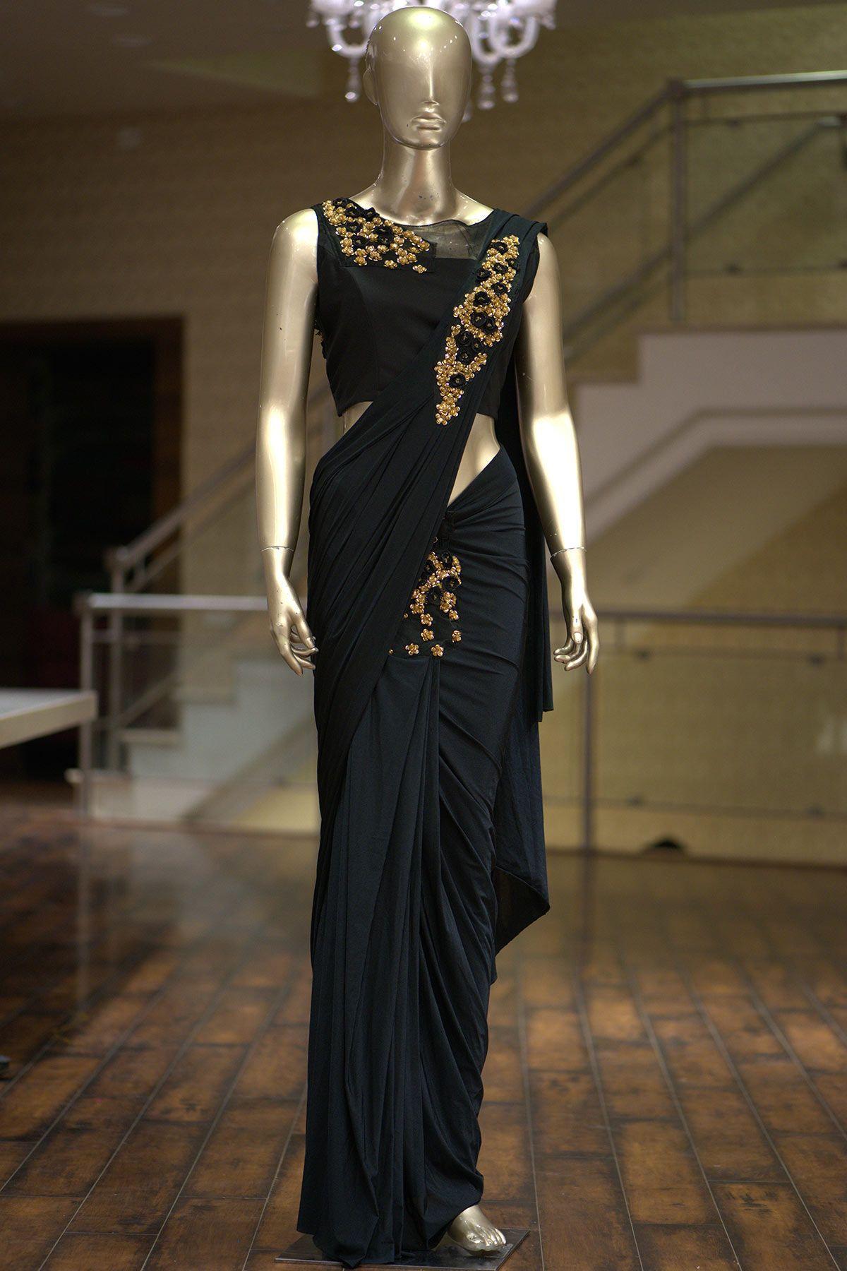 e0fc6cccc9 Buy Black Lycra Applique Embroidered Saree Online