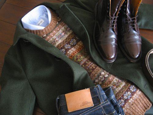Perfect fall / winter stuff. Loden coat, fair isle, oxford, boots ...