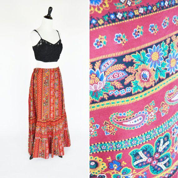 Vintage 1970's  Red Orange Batik Maxi Skirt Red by PonsonbyVintage