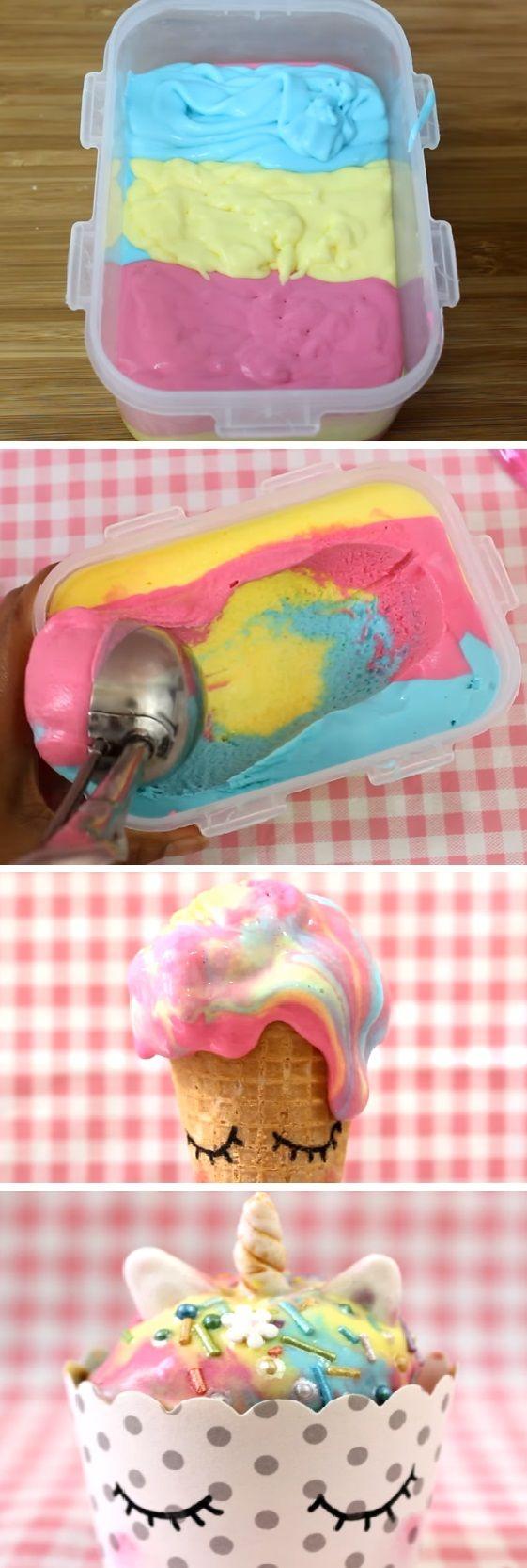 Cómo hacer Helado de UNICORNIO sin máquina. #como hacer #helados ...
