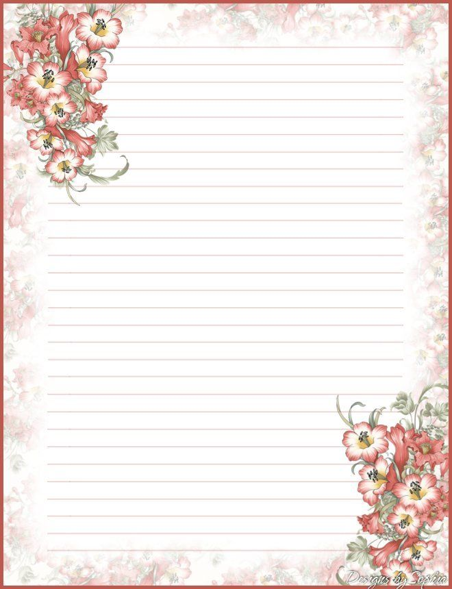 My Printable Stationary Creations 2   Sophia Designs PenPal Stationery  Free Lined Stationery Templates