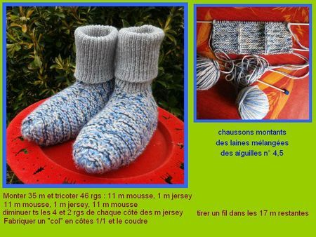 chaussons grande taille au tricot