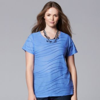 Simply Vera Vera Wang Striped Windy Jacquard Tee - Women's Plus Size