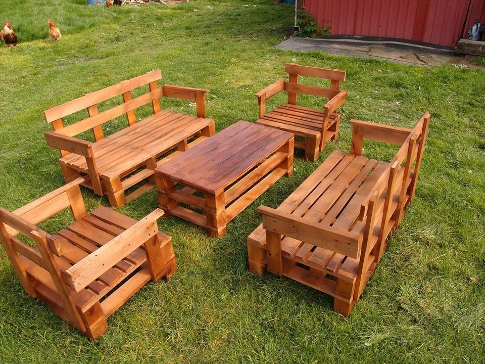 Upcycled Pallet Garden Furniture Set | Pallet Furniture ...