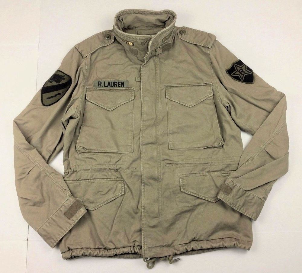 Denim Supply Ralph Lauren Men Military Army Skull-Head Patch Field Jacket  Khaki  ec7296e6858