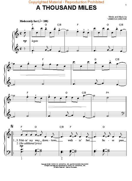 A Thousand Miles Piano Sheet Music Google Search Katie In 2018