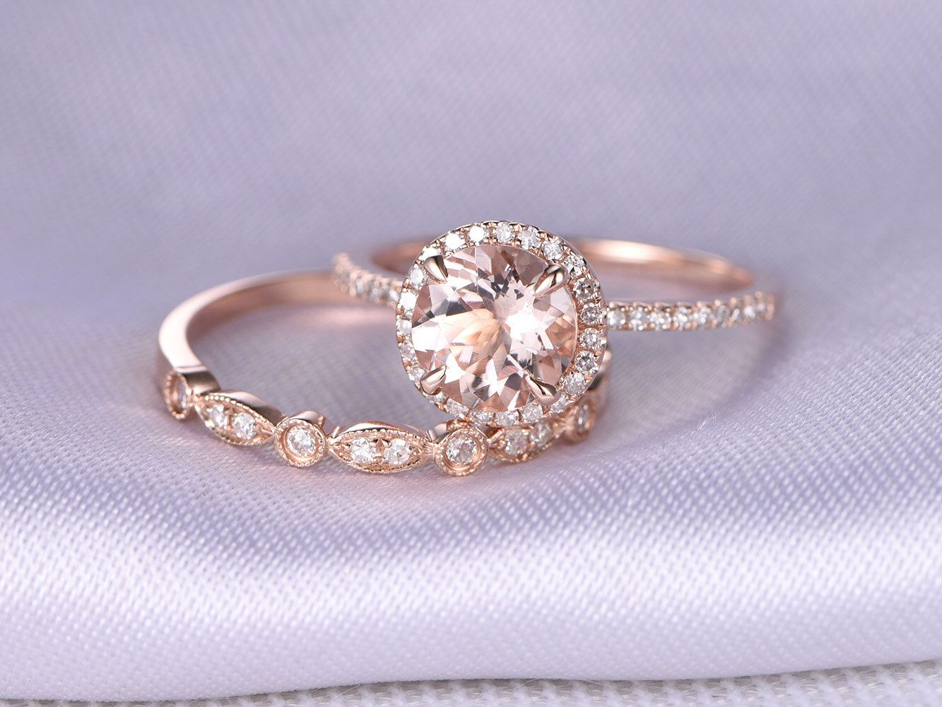 Wedding Ring Set Morganite Engagement Ring 14k Rose Gold Art Deco Diamond Matching Band 7mm Round Stone Personalized For Her Custom Ring by milegem on Etsy https://www.etsy.com/listing/270480733/wedding-ring-set-morganite-engagement