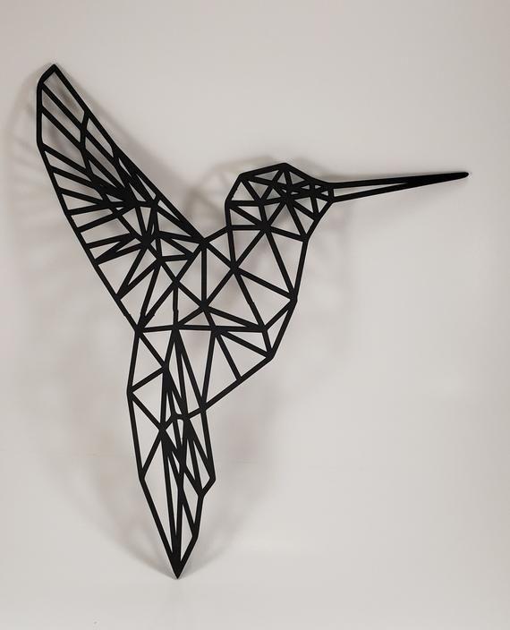Geometric Hummingbird Wall Art, Animal Wall Hangings ...