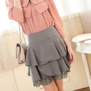 Tokyo Fashion Lace-Hem Ruffle Skirt PRICE  $32.00  #skirt #fashion #women