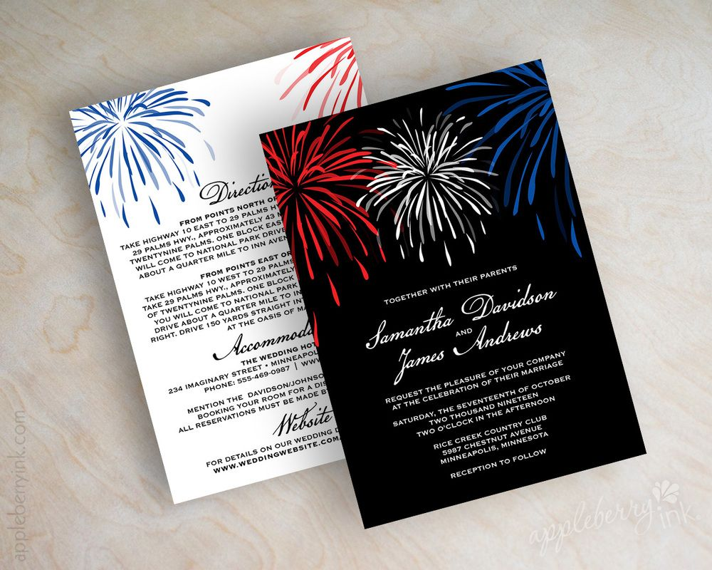 Fireworks Wedding Invitations. Shown in red, white, blue and black ...