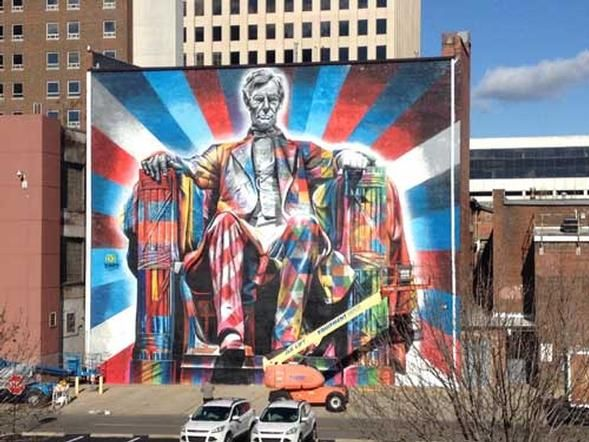 Lincoln Mural Completed In Downtown Lexington Milestone Blog Mural Street Artists Lexington