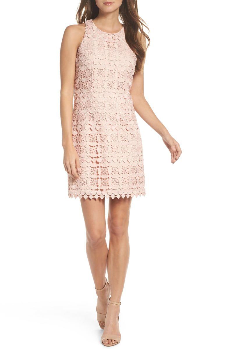 Eliza J Lace Racerback Shift Dress Nordstrom Blush Cocktail Dress Womens Dresses Dresses [ 1196 x 780 Pixel ]