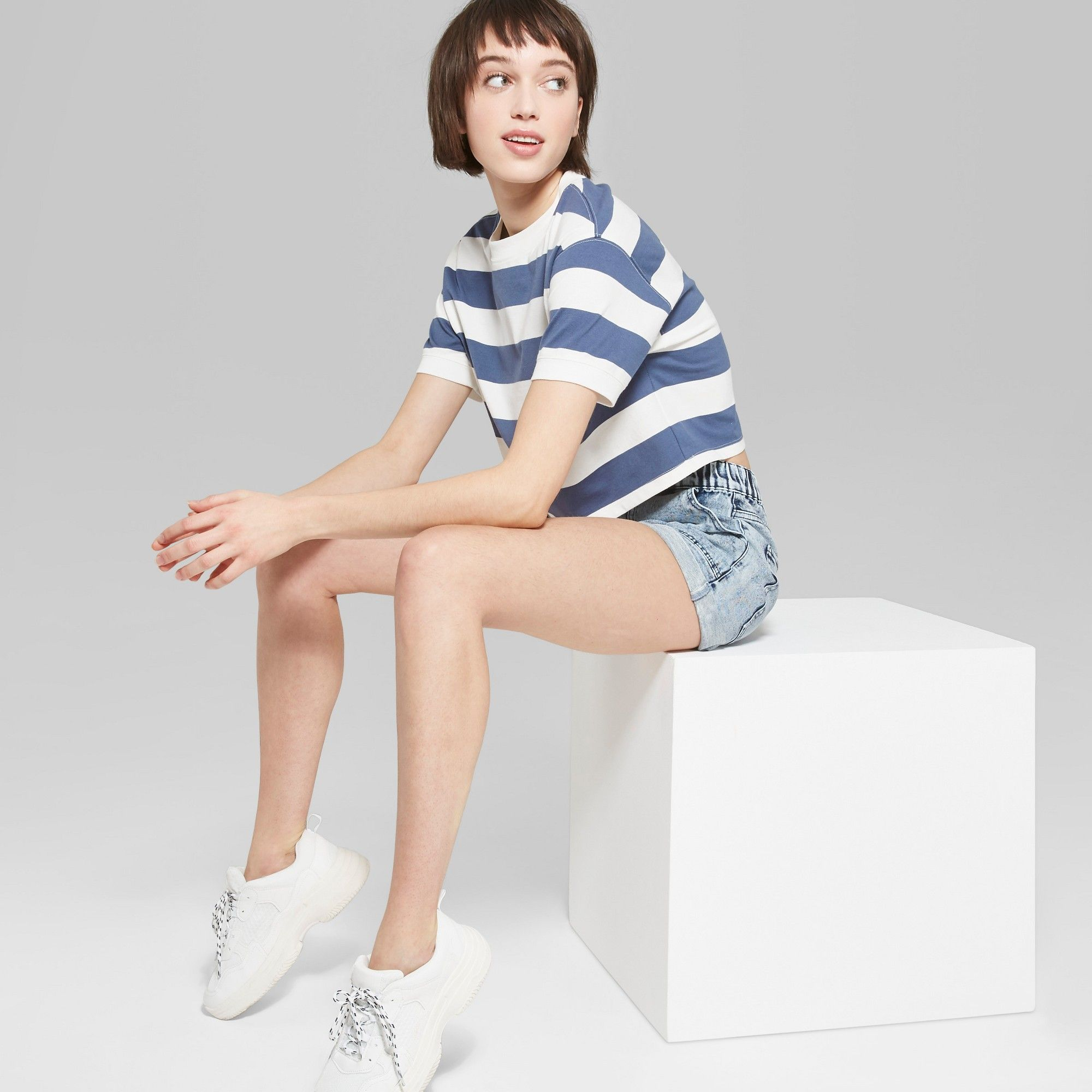 12f945c387 Women's Striped Short Sleeve Rugby Stripe Boxy Crop T-Shirt - Wild Fable  Blue/White XL, Multicolored