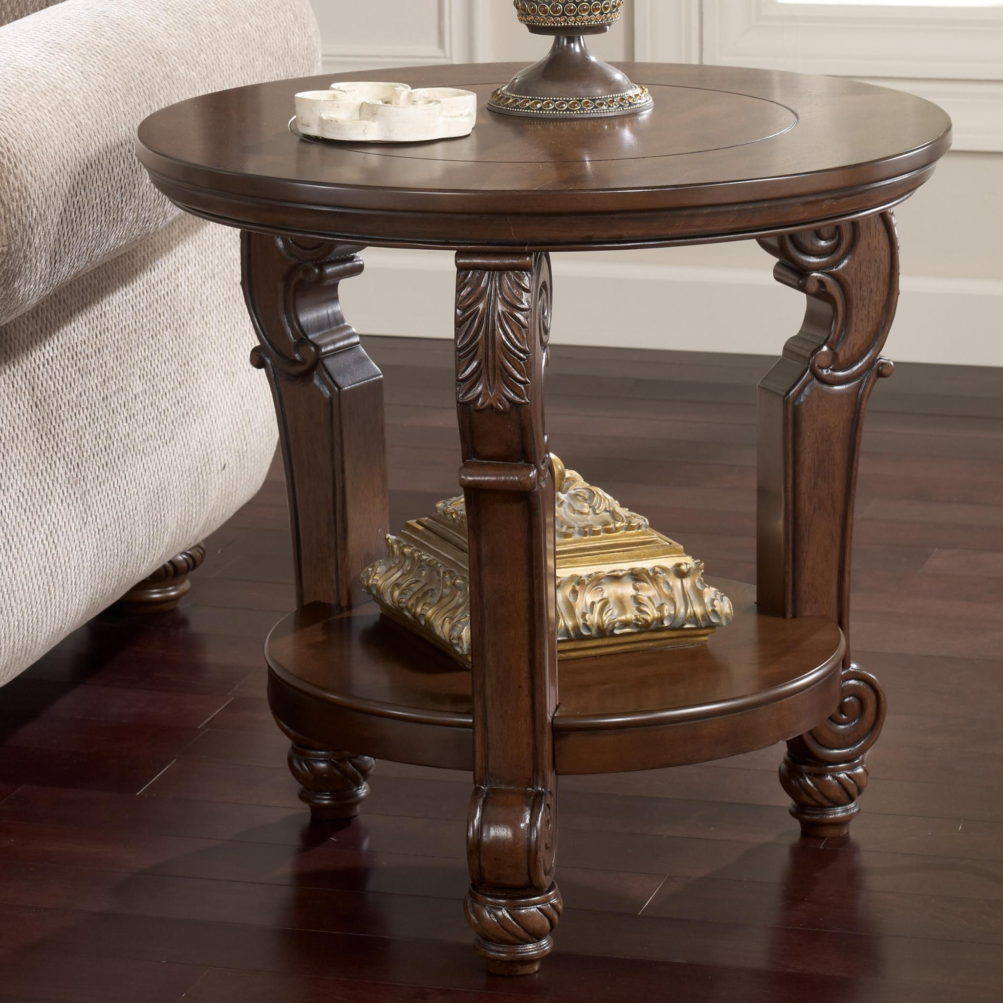 Signature Design By Ashley San Martin Traditional Round End Table With Shelf At Wayside Furniture