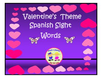 Valentines theme Spanish sight words are 60 isolated words to help students in word recognition.