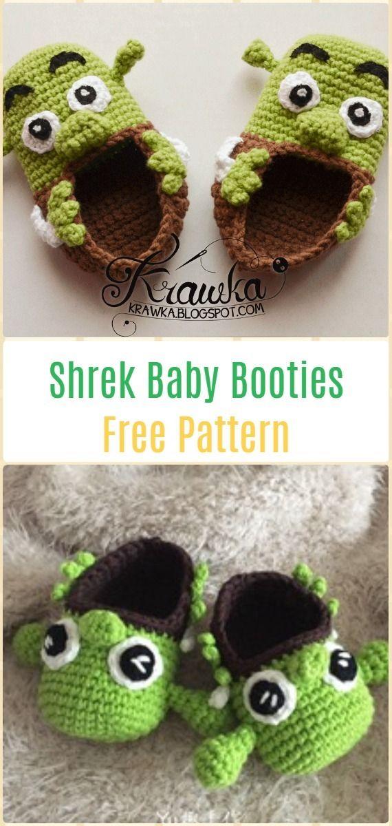 Crochet Shrek Baby Booties Free Pattern - Fun Crochet Baby Booties ...