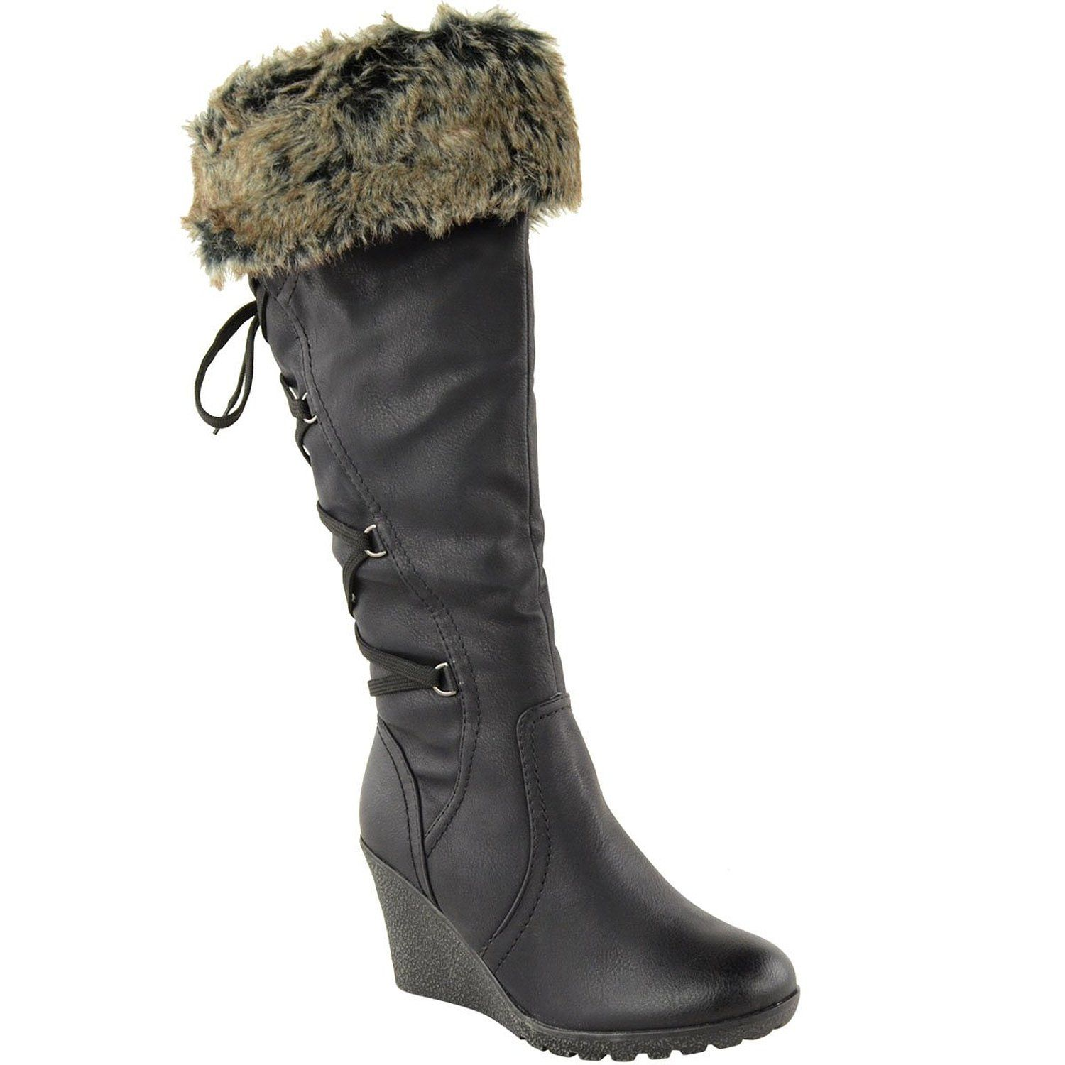 Womens Suede Faux Fur Mid Calf Warm Rain Winter Bootie Snow Boots Black
