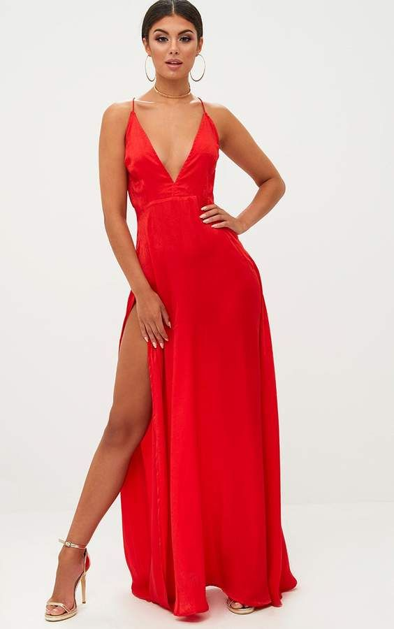 Red Satin Frill Shoulder Extreme Split Maxi Dress Pretty Little Thing kRltqhwhn