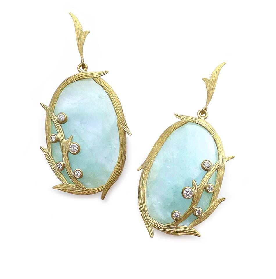 Laurie Kaiser Lemongrass Earrings in aquamarine and white diamonds. www.lauriekaiser.com