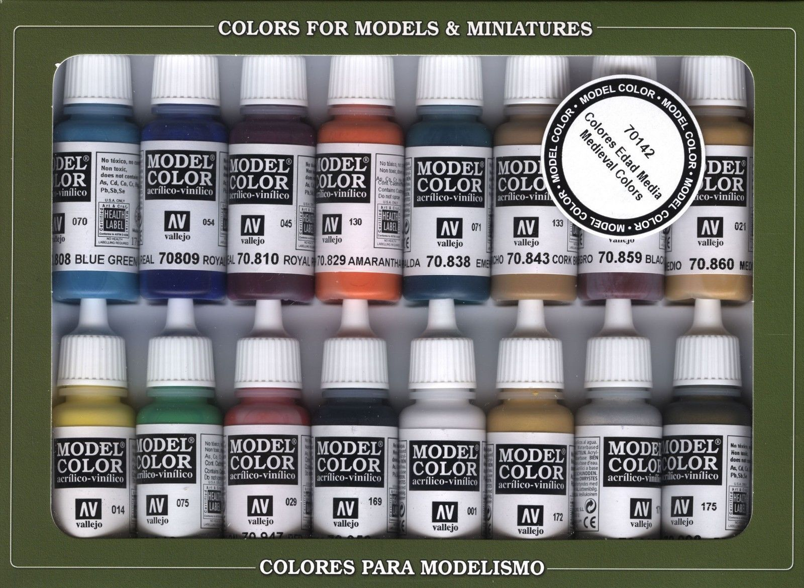 Medieval colors 16 paint set for models hobby vallejo