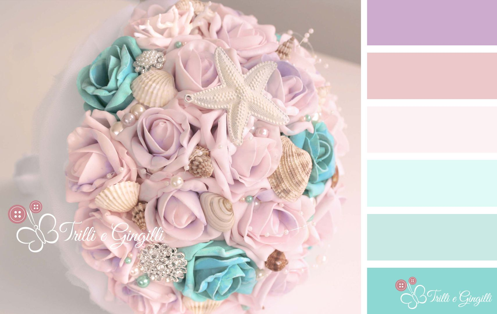 Palette di colori per matrimonio tiffany e lilla. Wedding color palette tiffany and lillà. #bouquet