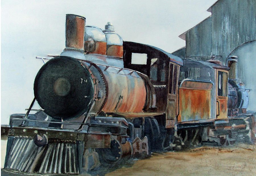 Abandoned trains abandoned train ii painting by for Railroad stations for sale
